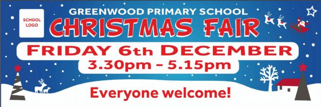 Christmas Fair banner featuring snowy scene